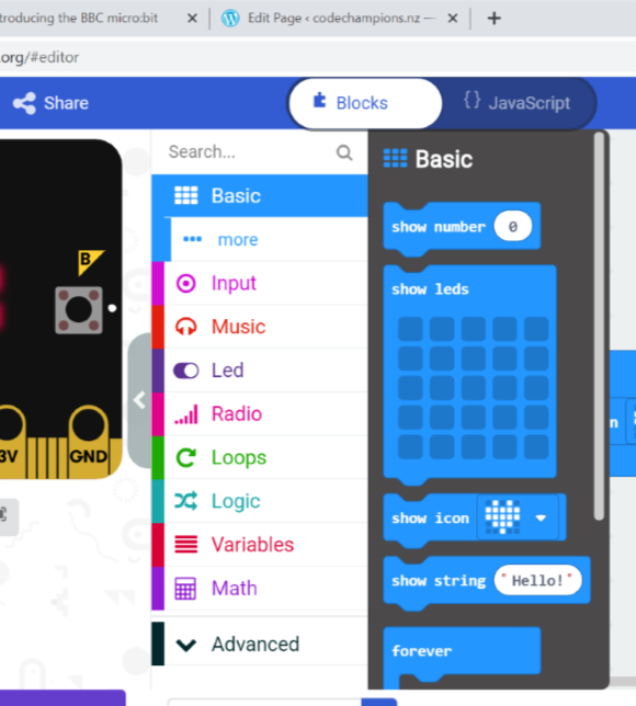 microbit block basics